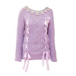 College Sweet Lolita Cherry Geometry Weave Ribbon O-neck Sweater