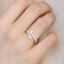 Unique Handmade Music Notes Silver Open Women Ring