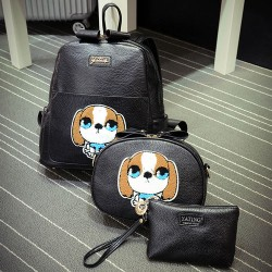 Cute Embroider Cartoon Dog Three-piece Backpack Shoulder Messenger Bag Handbag