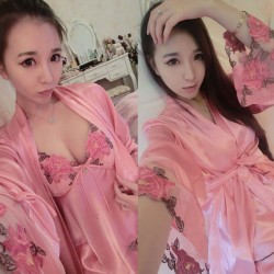 Sweet Embroider Lingerie Silk Pajamas Nightgown