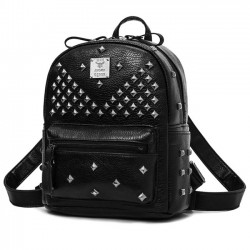 Punk PU Rivets Lichee Pattern School Bag Girl's Backpack