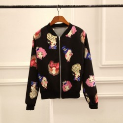 Fashion Coat Floral Dot Stripe Leopard Stand Collar Cardigan Baseball Uniform