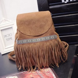 Unique Ethnic Embroidery Tassel Drawstring Frosted Shoulder Bag Backpack