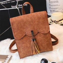 Retro Simple PU Tassels Women College Backpack