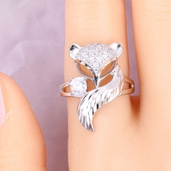 Unique Design Silver Fox Open Animal Diamond Women Ring