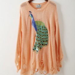 Sequined Peacock Print Irregular Cut Woman Sweater