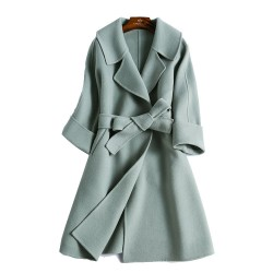 Fashion  Hand-sewn Tailored Collar Double-sided Cashmere Woolen Coat Women Jacket