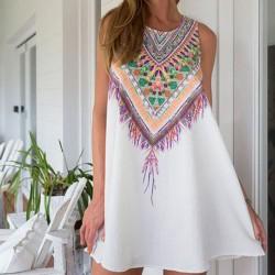 Folk Geometry Printing Round Neck Dress