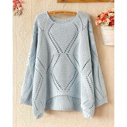 Loose Rhombus Hollow Out Pullover Sweater