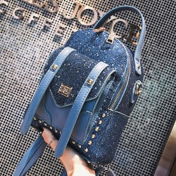 Cute Blue Sequins Rivet Unique Ladies Small Backpack