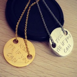 KISS ME IF YOU CAN Letter Titanium Steel Coin Pendant Necklace