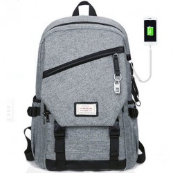 Leisure Gray Large Waterproof Canvas School Bag Travel USB Interface Student Backpack