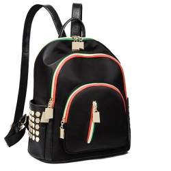 Leisure Rivet Contrast Color Zippers Black Nylon School Backpack