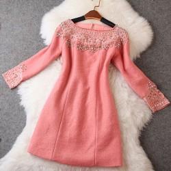Pretty Hand Beaded Slim Alpaca Dress/Party Dress