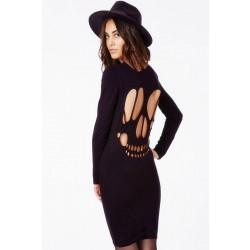 Elegant Slim Skull Hollow Black Bottoming Dresses