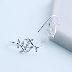 Fresh Silver Leaf Sweet Leaves Drop Earrings