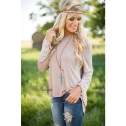 Lace Splice Patch Loose Long-sleeved T-shirt