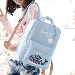 Cute Whale Floral School Bag Backpack Beautiful World Cartoon Canvas Rucksack