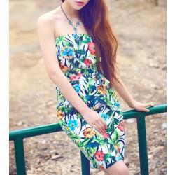 Summer Flowers Printing Chiffon Beach Halter Dress