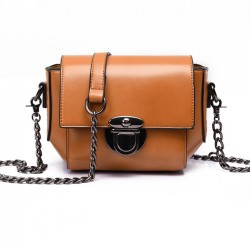 Retro Waxy Feel PU Metallic Lock Chain Flap Mini Leisure Shoulder Bag
