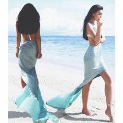 Blue Mermaid Draggle-tail Sequins Splicing Elastic Beach Waistband Skirt
