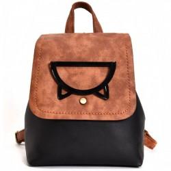 Retro Small Cat Head Bucket Hollow Cartoon Animal College Girl's Backpack