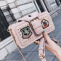Unique Girl's PU Leather Rivet Small Shoulder Bag