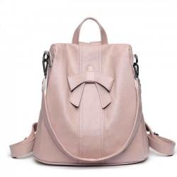 Elegant Pink Bow-knot Soft Leather Multi-function Shoulder Bag Student Backpack