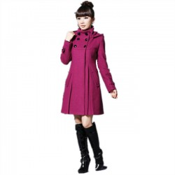 Leisure Large Slim Double Button Woolen Windbreaker Long Cloak Shawl Women Coat