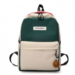 Unique High School Rucksack Student Bag Contrast Color Large Canvas Backpack