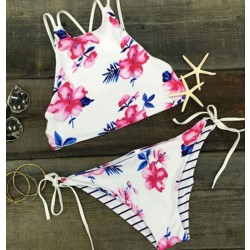 New Floral Print Bikinis Set Halter Bandage Swimwear Beach Bathing Suit
