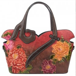 Retro 3D Embossing Flower Rose Large Handmade Women Handbag Shoulder Bag