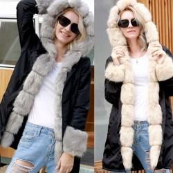 Punk Fluff Warm Long Hooded Collar Fur Long Sleeve Cardigan Women Coat