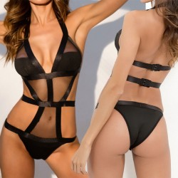 Sexy See Through Mesh Black Hollow Women Lingerie