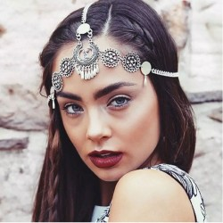 Vintage Engraving Drop Tassel Headband Ethnic Metal Hair Accessories
