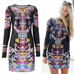 Vintage Folk Orchid Floral Pattern Long Sleeve O-neck Slim Dress