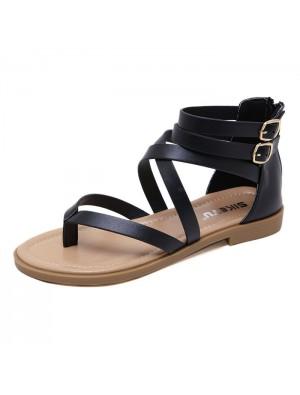 New Double Buckle Beach Flats Zippers Summer Shoes Women's Roman Sandals