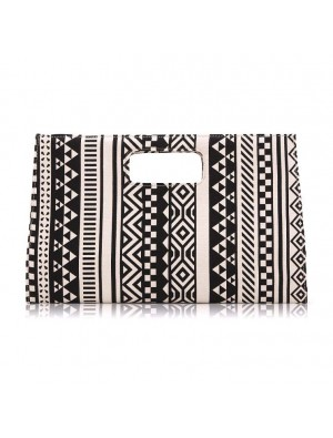 Vintage Black White Unique Geometric Atmospheric Canvas Clutch