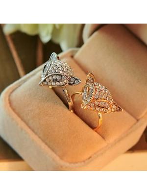 Fashion Fox Head Animal Shining Women's Open Rings