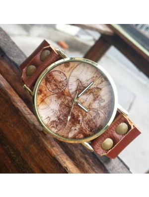 Retro World Map Leather Watch