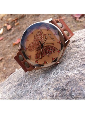 Retro Handmade Cowhide Leather Butterfly Personality Women Watch