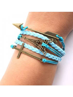 Eiffel Tower Arrow Cross Braided Bracelets