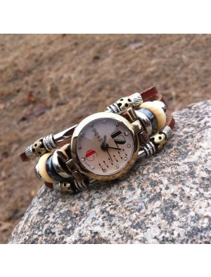 Original Retro Bead Leather Bracelet Watch