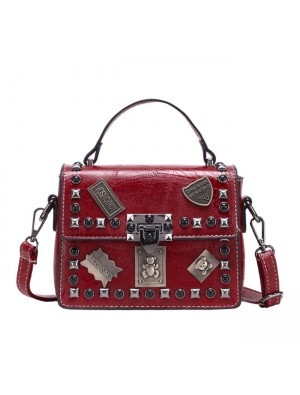 Leisure Badge Rivet Messenger Bag Small Women Shoulder Bag