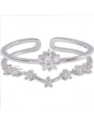 Cute Double Flower Star Open Silver Zircon Women Ring