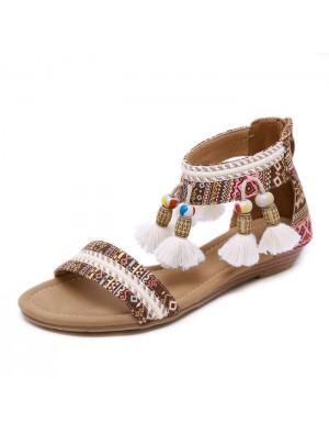 Folk Tassel Beach Flats Summer Shoes Bohemia Beaded Women's Roman Sandals