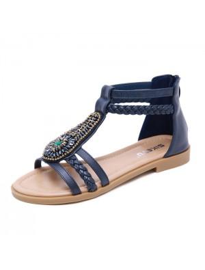 Vintage Bohemia Beaded Zipper Rhinestone Summer Flats Women's Shoes Roman Sandals