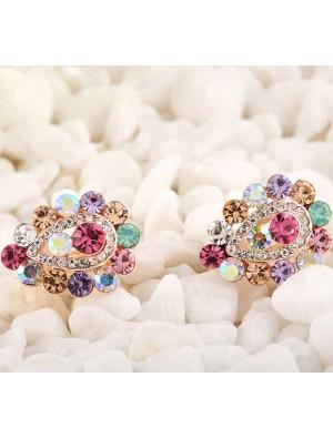 Bling Water Drop Fully Diamond Clip Earrings