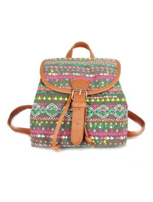 Lovely Geometry Cute Fox Owl Pattern Drawstring Hasp Rucksack Shoulder Bag Backpack