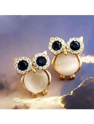 Cute Owl Opal Animal Stud Earrings